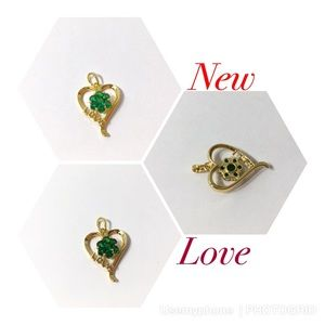 Jewelry - New gold filled heart love flower green pendant